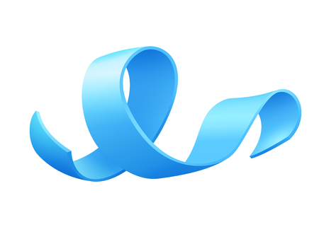 Realistic blue ribbon, world prostate cancer day symbol in november, vector illustration. Poster for prostate cancer awareness month.