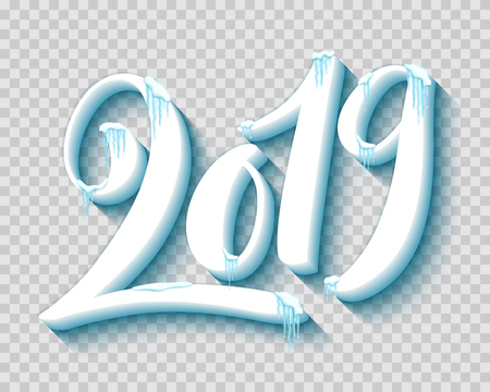 Merry christmas and happy new year 2019 with realistic snow and icicles, vector illustration