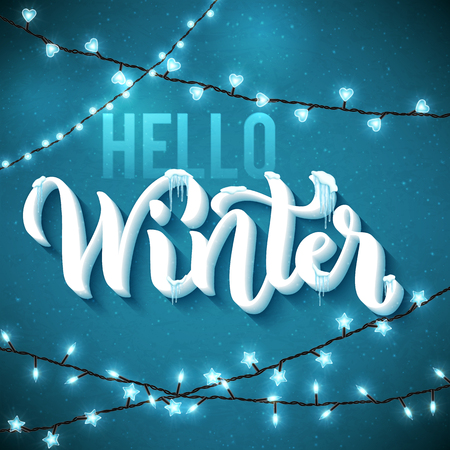 Hello Winter poster with realistic, icicles and christmas sparkling lights. Vector illustration. Illustration