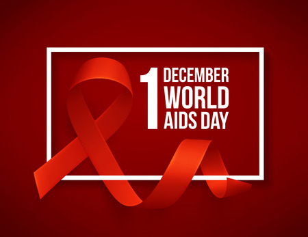 Banner with realistic red ribbon. Poster with symbol for world aids day, 1 december. Design template, vector. Vectores