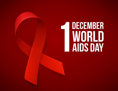 Banner with realistic red ribbon. Poster with symbol for world aids day, 1 december. Design template, vector