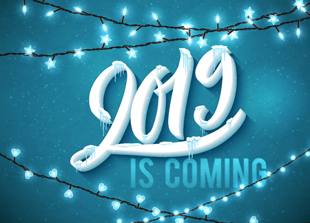 Happy New Year 2019 is coming poster with realistic icicles and christmas sparkling lights. Vector illustration.