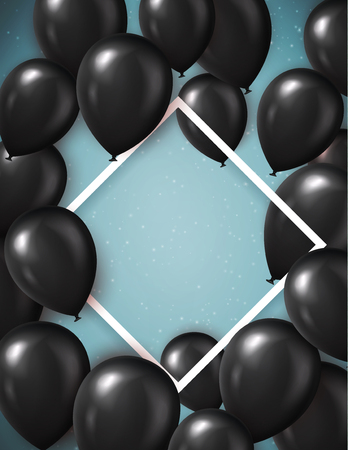 Black Friday sale poster template with realistic black balloons. Template background. Vector illustration.