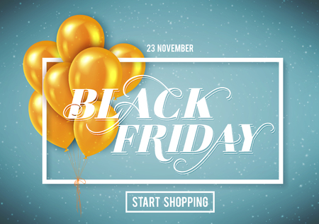 Banner for Black Friday Sale with handdrawn lettering. Poster template. 23 november. Vector illustration. Ilustracja
