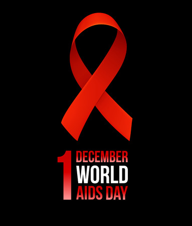Banner with realistic red ribbon. Poster with symbol for world aids day, 1 december. Design template, vector illustration. Illustration