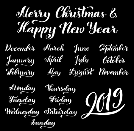 Big set of months of the year 2019 and days of week. December, January, February, March, April handdrawn lettering for calendars. Merry Christmas and happy new year. Vector illustration.