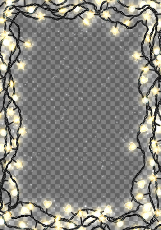 Border template with realistic color garlands, festive decorations. Glowing christmas lights isolated on transparent background. Vector illustration. Illusztráció
