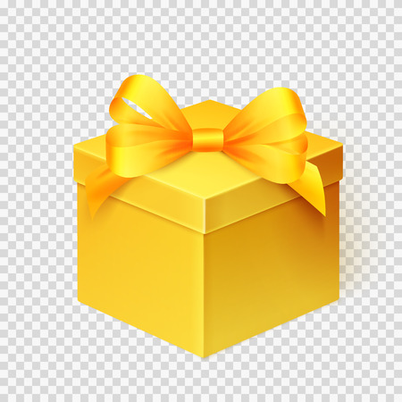 Realistic yellow gift box with ribbon isolated over white background. Design template for Holiday Christmas present. Vector illustration. Illusztráció