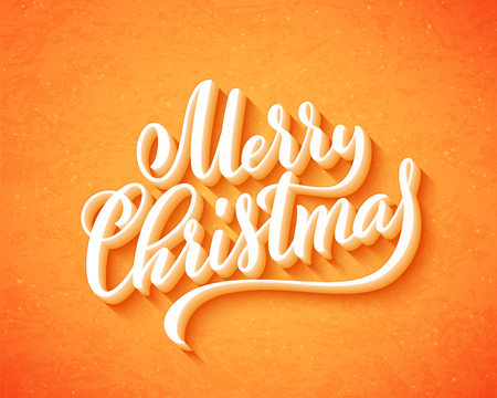 Merry Christmas handwritten lettering. Lettering design card template. Vector illustration. 版權商用圖片 - 127636667