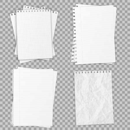 Collection of various realistic white papers. Office paper of different types, design template. Vector illustration.