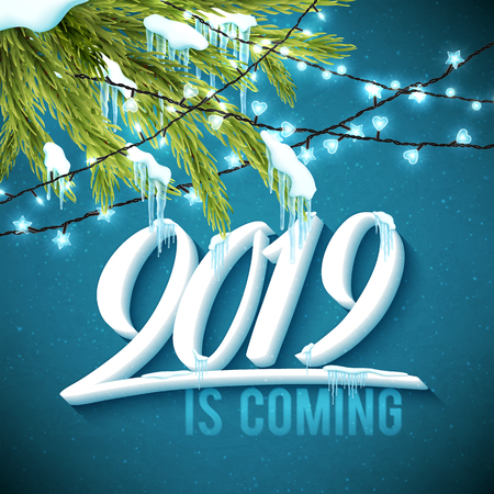 Hello Happy New Year 2019 poster with realistic icicles, christmas sparkling lights and fir tree. Vector illustration.
