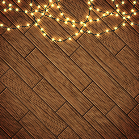 Magic card with Christmas lights. Border with realistic Xmas glowing garland over wooden background. Vector illustration. Illusztráció