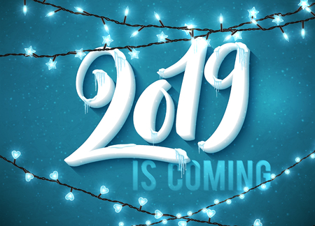 Hello Happy New Year 2019 poster with realistic icicles and christmas sparkling lights. Vector illustration.