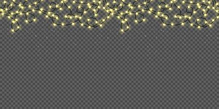 Christmas lights isolated on transparent background. Seamless border background with realistic Xmas glowing garland and falling snow. Vector illustration.