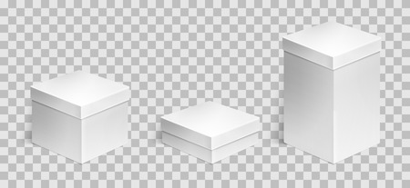 Set of 3 realistic cardboard boxes over transparent background. Set of cosmetic or medical packaging. For Software, electronic device and other products or gifts. Design template. Vector illustration. Illusztráció
