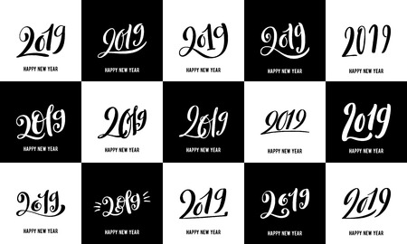 Happy New 2019 Year. Vector illustration with lettering composition. Big set of seasonal flyers and greeting cards for Christmas holydays. Vector illustration. Illusztráció