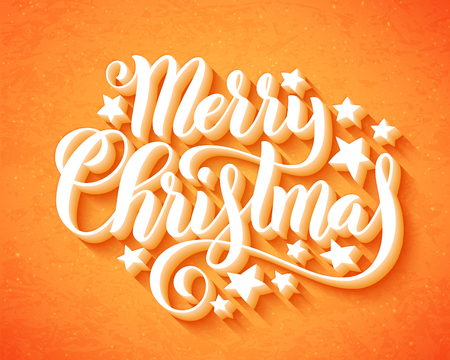 Merry Christmas handwritten lettering. Lettering design card template. Vector illustration. Illusztráció