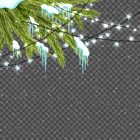 Border with realistic fir-tree, snow, icicles and christmas lights. Beautiful winter background for Merry Christmas. Design template. Vector illustration.