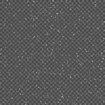 Seamless pattern with realistic falling snowflakes. Isolated on transparent background. Design template. Vector illustration.