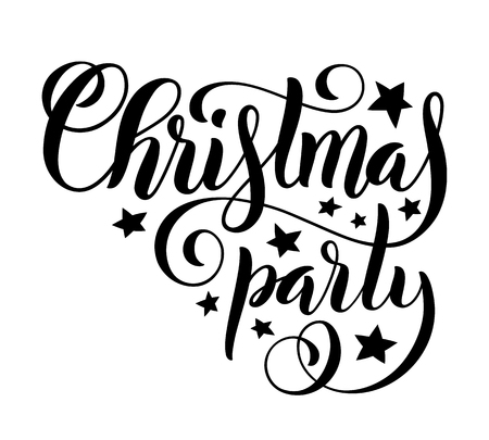 Merry Christmas party handwritten lettering. Lettering design card template. Vector illustration.