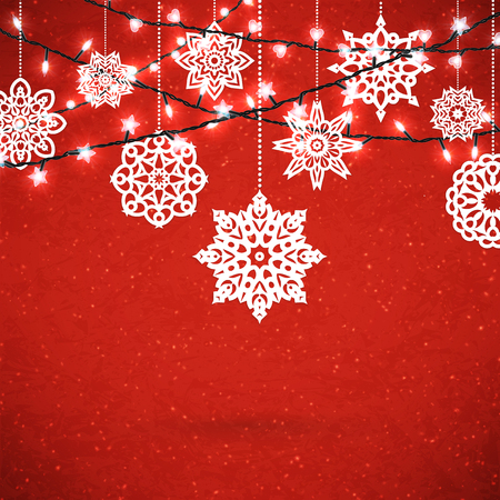 Background for Merry Christmas poster with paper snowflakes and glittering garland. Vector illustration. Illusztráció