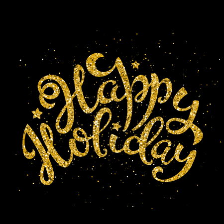 Gold happy holiday handwritten lettering. Lettering design card template for Merry Christmas and New Year. Vector illustration. Illusztráció