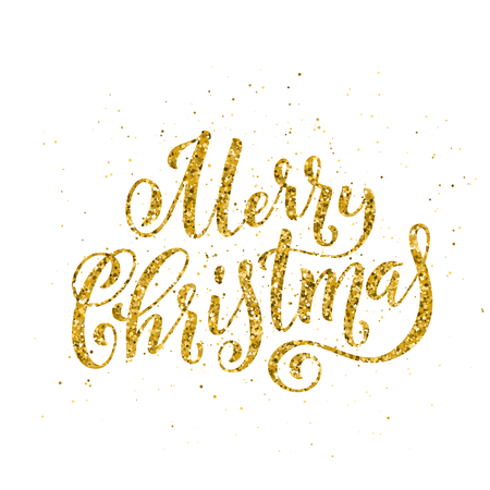 Gold Merry Christmas party handwritten lettering. Lettering design card template. Vector illustration.