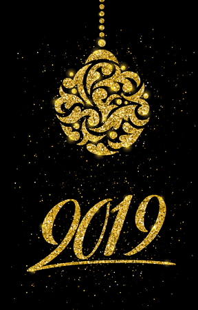 Happy New 2019 Year. Vector illustration with lettering composition. Seasonal flyers and greetings cards for Christmas holydays. Gold sparkling typography. Illusztráció