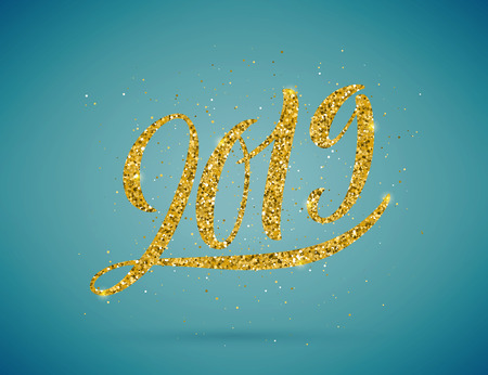 Merry christmas and happy new year 2019 card, vector illustration Illusztráció