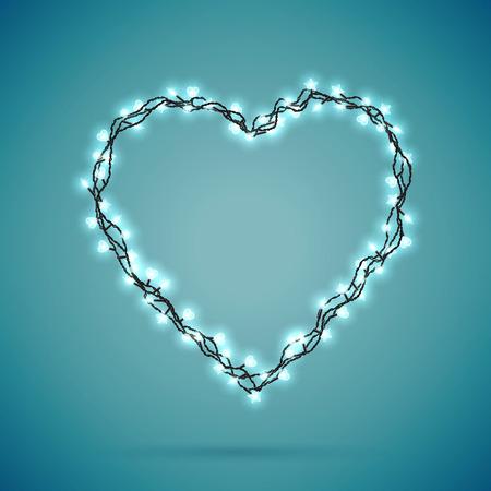 Magic background with christmas lights. Heart shaped. Vector illustration Illusztráció