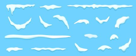 Set of isolated snow cap. Vector template with Snowy elements for your design. Realistic snowdrifts. Illustration.