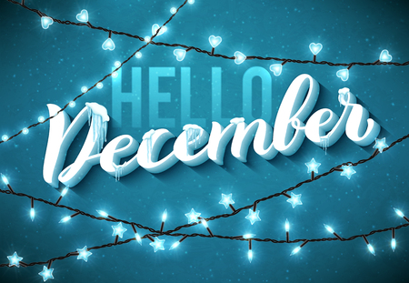 Hello December poster with realistic, icicles and christmas sparkling lights. Vector illustration. Illusztráció