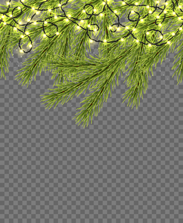 Seamless border with relistic firtree, sparkling lights and garlands over transparent background. Design template for merry christmas. Vector illustration. Illustration