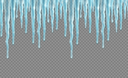 Seamless border with realistic icicles over transparent background. Design template for merry christmas. Vector illustration.
