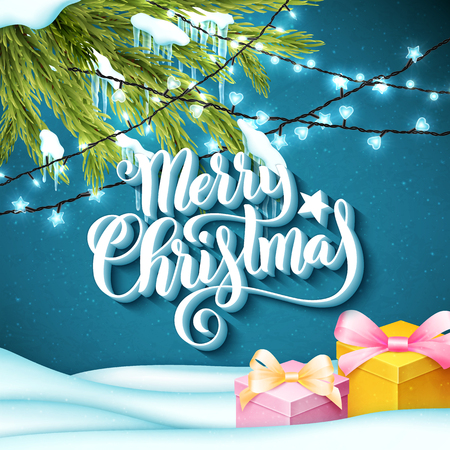 Merry Christmas. Template for holiday greeting card with handwritten lettering, realistic sparkling lights, fir-tree, snow and icicles. Vector illustration. Illusztráció