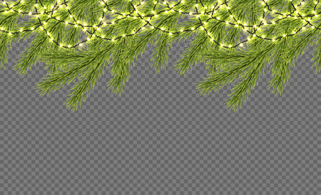 Seamless border with realistic firtree, sparkling lights and garlands over transparent background. Design template for merry christmas. Vector illustration. Illusztráció