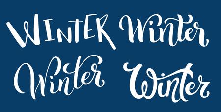 Calligraphic set of handdrawn lettering Winter. Design template. Vector illustration.