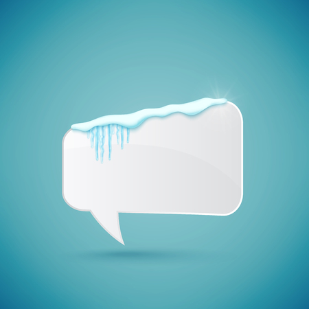 Speech bubble decorated with realistic snow and icicles. Design template for merry christmas. Vector illustration.