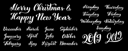 Big calligraphic set of months of the year 2019 and days of week. Handdrawn lettering for calendars. Vector illustration.