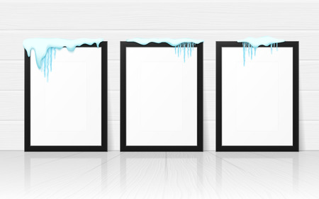 Set of frames with realistic snow and icicles. Beautiful winter template for merry christmas. Vector illustration. Illusztráció