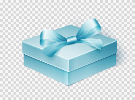 Realistic blue gift box with ribbon isolated over white background. Design template for Holiday Christmas present. Vector illustration.
