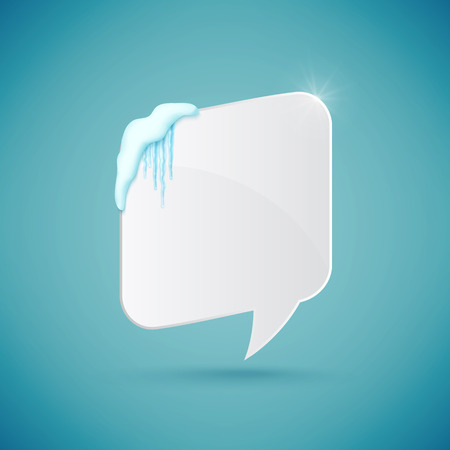Speech bubble decorated with realistic snow and icicles. Design template for merry christmas. Vector 免版税图像