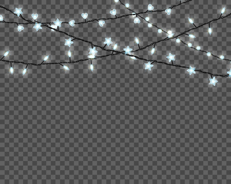 Christmas lights isolated on transparent background. Set of realistic Xmas glowing garland. Vector illustration.