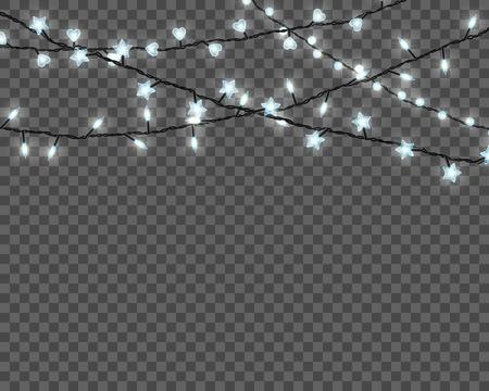 Lampki choinkowe na przezroczystym tle. Zestaw realistycznych świątecznych świecących girland. Ilustracja wektorowa.