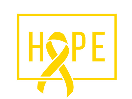 Background with stylized gold ribbon. Hope. World childhood cancer symbol, vector illustration. Template for poster for cancer awareness month.