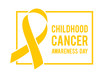 Background with stylized gold ribbon. World childhood cancer symbol, vector illustration. Template for poster for cancer awareness month.