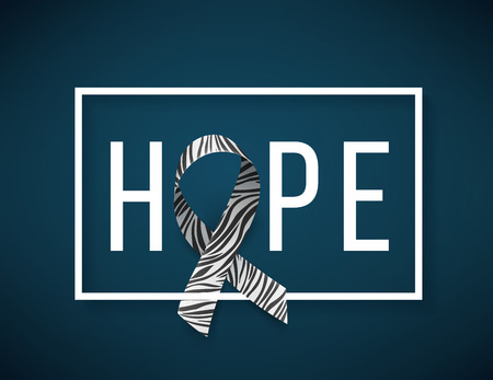 Background with realistic ribbon. Symbol of rare disease awareness day, ribbon with zebra-print. Hope. Template for poster for awareness day 28 february, vector illustration.