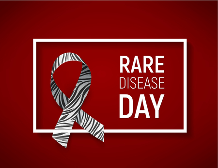 Background with realistic ribbon. Symbol of rare disease awareness day, ribbon with zebra-print. Template for poster for awareness day 28 february, vector illustration.