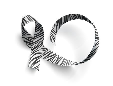 Símbolo del día de concientización sobre enfermedades raras, cinta con estampado de cebra sobre fondo blanco. Plantilla para cartel para el día de la concienciación el 28 de febrero, ilustración vectorial. Ilustración de vector