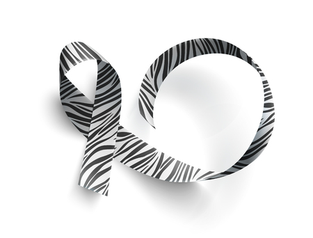 Symbol of rare disease awareness day, ribbon with zebra-print over white background. Template for poster for awareness day 28 february, vector illustration. 矢量图片